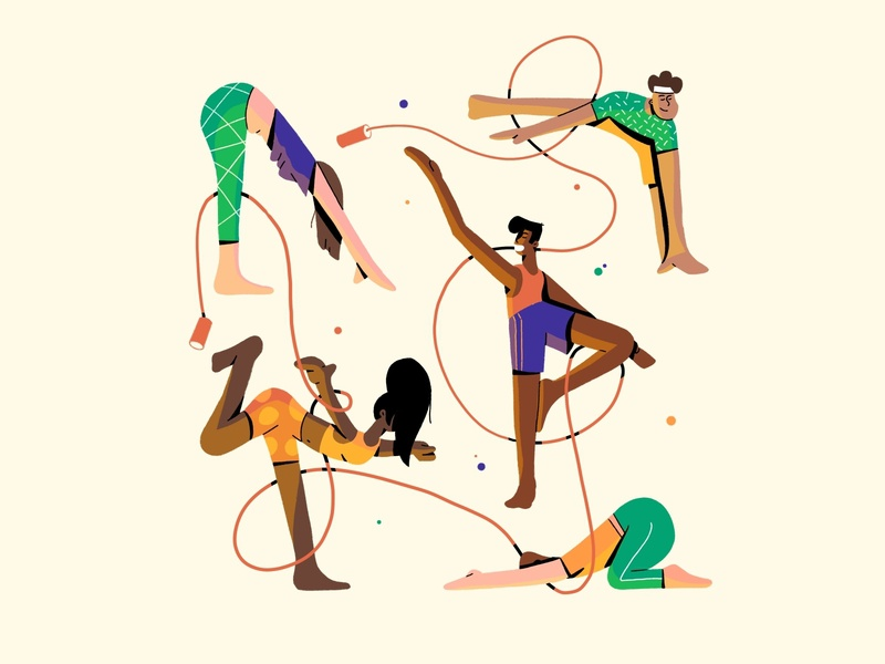 Yoga yoga pose stretch activity mental health character characterdesign fitness zen meditation excercise procreate web design workout rope woman man sport yoga illustration
