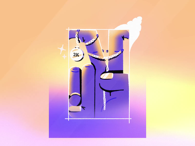 2K followers on instagram! gradient frame coin shiny shine stars nails framebyframe procreate music loop hand smile chain smoke illustration animation
