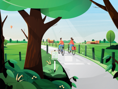 VisitBrabant - Fietskaart Brabant Noordoost bag cycle cycling leafs design gras shadows lights graphic design plants farm cow balloon brabant holland netherlands landscape tree illustration animation