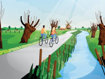 VisitBrabant - Fietskaart Brabant West sky windmill farm cow river trees route holland netherlands landscape nature bike cycle cycling brabant illustration