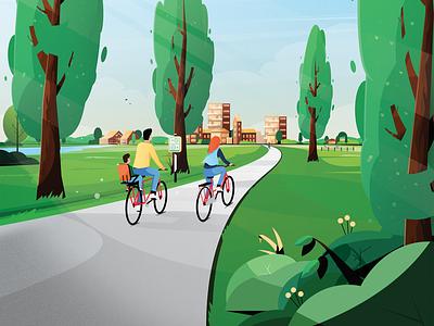 VisitBrabant - Fietskaart Brabant Zuidoost trees trip family mill dutch city holland netherlands brabant landscape nature bike cycle cycling illustrator illustration