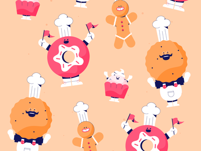 Donuts & Cookies chef hat hat moustaches flags bakery baker cakes cake moustache pastry donut cookie
