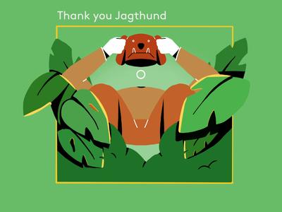 Thank you Jagthund! new website loop doggy mask hat man leaf leafs animation text hiding thankyou thanks cell animation cellanimation cell framebyframe bushes bush dog