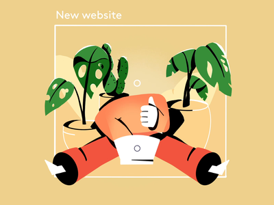 New website! border hands url laptop thumbs up porcess big man keys loop studiosnels framebyframe cell animation typography typing internet web new new website