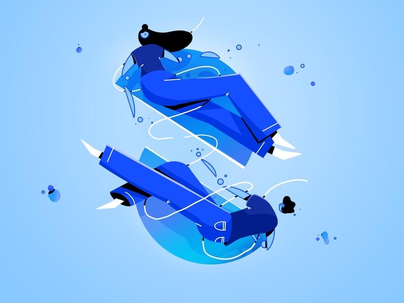 Part 3 animation illustration girl apart light floating woman man dance snap broken circle studiosnels lineart line connected lovestory love breakup break