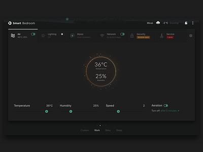 Smart home concept night mode dark theme iot smart home application