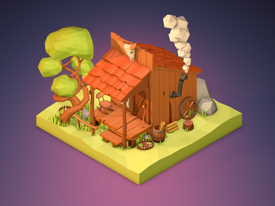 Low Poly Trapper Home trapper house lowpolyart diorama art isometric design illustration game cartoon low poly poly low