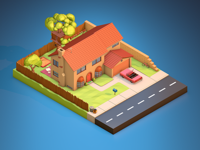 The Simpsons House simpsons diorama cinema4d 3d art design house lowpoly3d lowpolyart lowpoly illustration isometric car game cartoon low poly poly low