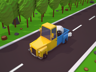 Low Poly Truck low poly truck yellow white sheep road tree cartoon car vehicle truck poly low