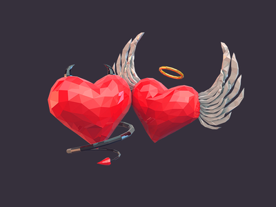 Hearts low poly hearts poly low hell nimb devil angel kiss love hearts heart