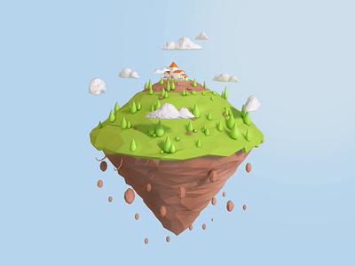 Floating Island cloud low poly earth island low poly island house earth low poly floating float