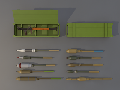 Low Poly RPG-7 gun fire rocket cartoon poly low launcher grenade weapon rpg-7