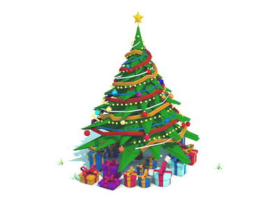 Low Poly Christmas Tree year new star gift mery santa forest fir christmas tree