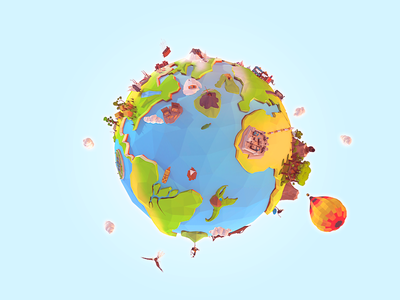 Low Poly World world cartoon project verne jule polygonal earth poly low