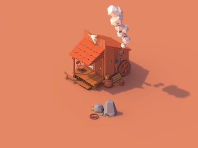 Low Poly Trapper Home trapper house. trap home world cartoon project polygonal poly low