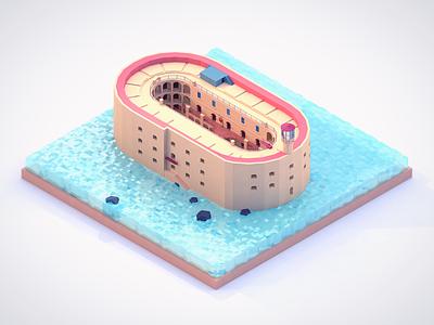 Fort Boyard cinema render model isometric designs building diorama 3d design illustration game cartoon poly low poly low
