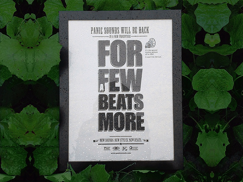 """For a few beats more"" poster poster plant rain typo"