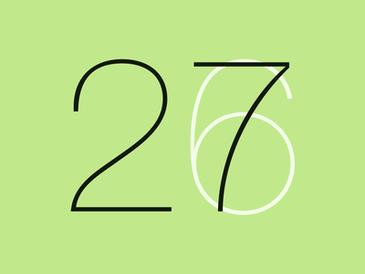 Quick doodle for my birthday numbers helvetica green 2 7 birthday