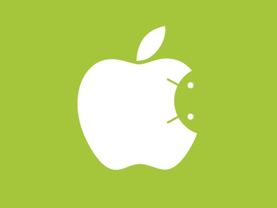 Android inside Apple logo sandwich apple android logos ios google forme inside outside fruit green mashup mix worm head jelly icecream white