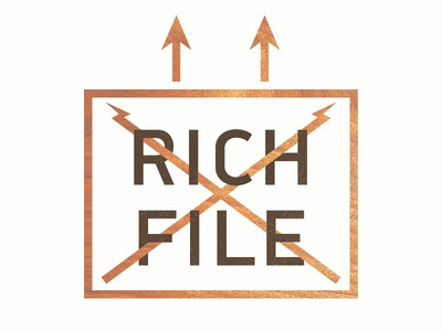 Rich File (ex-Unkle) Logo rich file logo richard we fell to earth unkle music box up arrow hipster wood letters