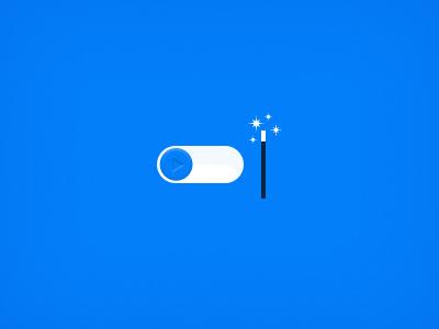 Start the magic magic switcher ios play button wand stars blue web interface