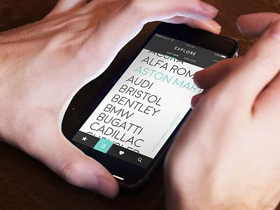 Car.Specs.App list view car app iphone ux ui user interface