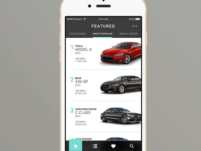 Car.Specs.App page featured user interface ui ux iphone app car list view