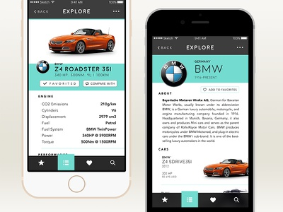 Car.Specs.App favorite button ios app mobile brand page product page