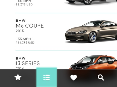 Car.Specs.App featured icon list view navigation ui user interface