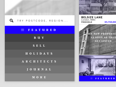 The.Modern.House App slider bottom list view navigation ui user interface