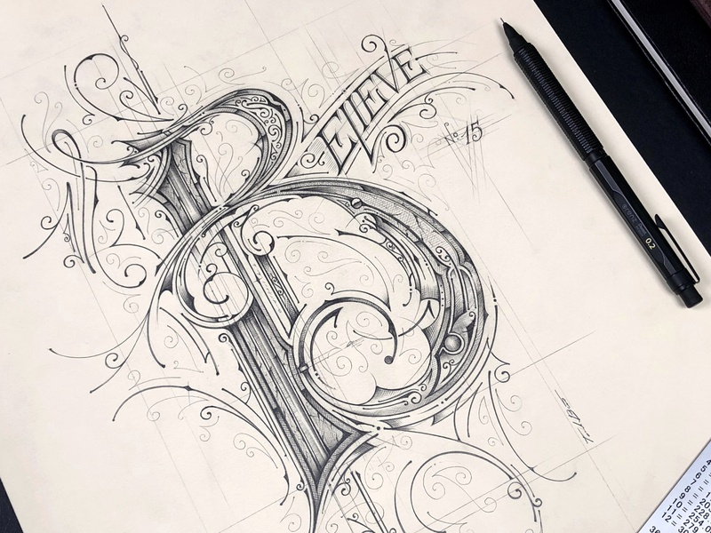 Callivember 2k20   Believe - Lettering pencil szkic typografia details biernat sketch handlettering illustration typography