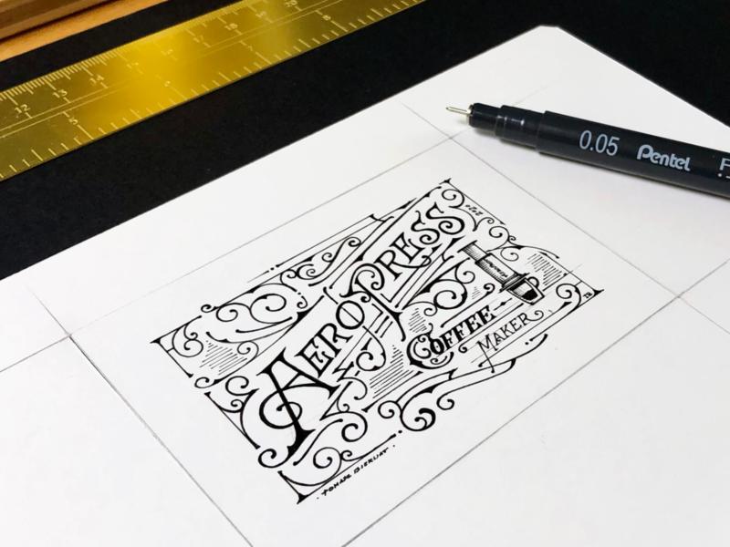 AeroPress | fanart ☕️ details design illustration typography handlettering vinrage lettering aeropresscoffee kawa coffee aeropress fanart