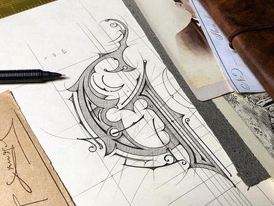 Logo | WIP (Old Distillery) - Sketch typografia biernat szkic pencil sketch illustration typography handlettering lettering logo distillery gorzelnia
