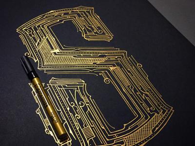 36daysoftype S industrial biernat art design typografia typography handlettering lettering pen touch gold 36daysoftype-s 36daysoftype
