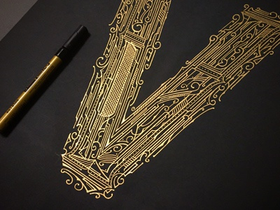 36daysoftype_V details koncepcja design typography typografia biernat concept lettering gold 36days-v 36daysoftype