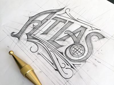 Atlas Bar sketch biernat logodesign typografia typography tomdixon pencil logo szkic sketch indiana bar