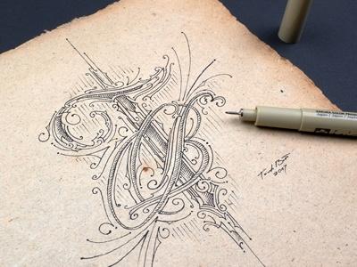 Tb Sketch old paper hand lettering lettering typografia typography biernat details skura sketch monogram