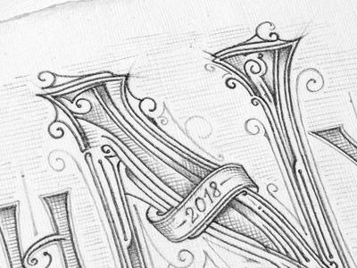Happy New Year | Sketch pracownia papieru biernat szkic typography typografia sketch pencil lettering happynewyear