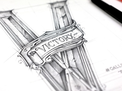 #Callinuary Victory typografia typography handlettering pencil lettering biernat szkic sketch victory callinuary