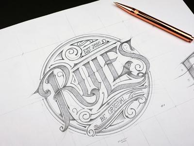 Rules | Logo typografia typography biernat sketch lettering custom print t-shirt logo rules