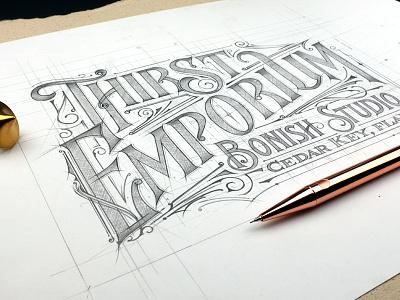 Thirst Emporium details floridakeys biernat florida lettering typography szkic sketch emporium