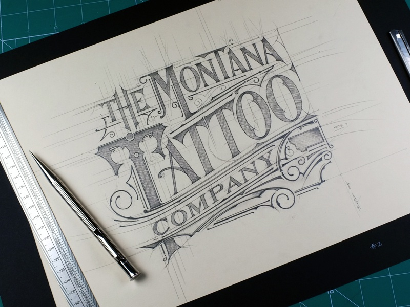 Montana Tattoo Company lettering usa montana tattoo