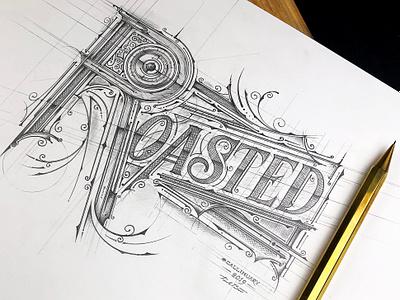 -Roasted- #Callinuary szkic sketch handmadefont kaweco pencil typography biernat roasted roast handlettering lettering callinuary2019 callinuary