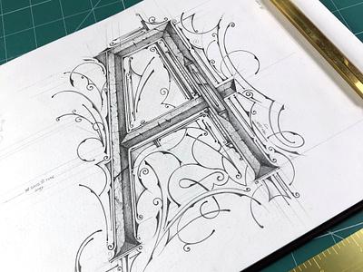 36 Days Of Type 2019 | A illustration biernat pencil lettering typography sketch typografia