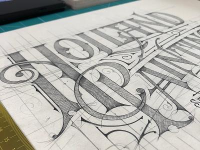 Holland Painting | Sketch - Logo, USA concept typografia u.s.a. usa handlettering pencil tshirt lettering logo typography