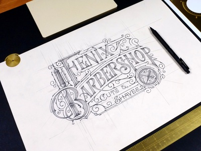 Fenix Barbershop | Knoxville, TN pencil handlettering branding typography sketch biernat lettering barbershop logo logos