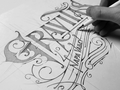 Gravitas | Wine label | Sketch - Napa, CA handlettering etykieta sketch pencil lettering california napa gravitas wine wine label