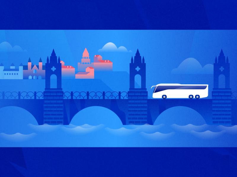 Global Express Illustration vector branding design ui europe city bridge water bus