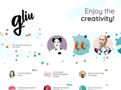 Gliu Theme Elements Cover enjoy blogger cute sweet colorful journal magazine editorial blogging blog webdesign website wordpress web ux ui template theme design creative