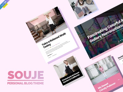 Souje Theme Elements Cover pink feminine journal magazine editorial blogging blog webdesign website wordpress web ux ui template theme design creative